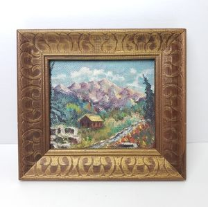 HANDPAINTED WOOD FRAMED MOUNTAIN SCENE ART